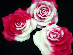 ROSE SOAP SET 2Tone Red Roses Handmade Super For by SanctuarySoap, $11.95