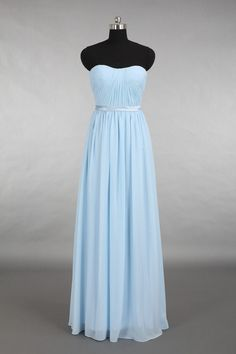 Light Blue Bridesmaid Dress, Strapless Floor Length Chiffon Bridesmaid Dress on Etsy, 73.43