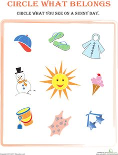 Preschool Sorting Categorizing Weather Seasons Worksheets: Circle What Belongs: Sunny Day Weather Activities Preschool, Free Preschool, Preschool Printables, Montessori Activities, Preschool Worksheets, Preschool Activities, Free Printables, Seasons Worksheets, Weather Worksheets