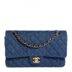 CHANEL Vintage Denim Quilted Medium Double Flap Navy Blue ❤ liked on Polyvore featuring bags, handbags, shoulder bags, quilted handbags, denim handbags, denim purses, chanel handbags and chain shoulder bag
