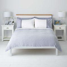 John Lewis Textured Stripe Duvet Cover And Pillowcase Set Single Blue Online At Johnlewis