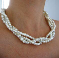 BRIDAL SET-  (2 Items ) -Ivory Swarovski Pearls -  Necklace and Bracelet.Wedding jewelry - Pearl Necklace -Bridal Jewelry