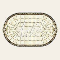 This marble medallion design encompasses the whole dining room. Featuring floral swags at either end, and trumpet flowers t divide the tiles, this design lends a formal feel to the space.