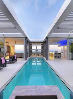 House built around a lap pool