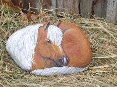 rocks painted like animals | is a painting I did on a rock of a palomino horse.I am trying to paint ...