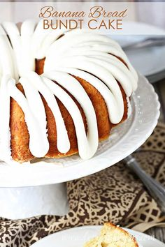 Banana Bread Bundt Cake Recipe -- Over-ripe bananas add a hint of sweetness and a burst of banana flavor to this delicious bundt cake, finished off with a drizzle of cream cheese frosting. #cake #bananas #desserts #recipes Best Dessert Recipes, Cupcake Recipes, Fun Desserts, Cupcake Cakes, Bundt Cakes, Cupcakes, Strawberry Desserts, Make Banana Bread, Chocolate Banana Bread
