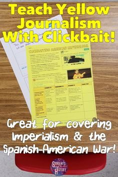 Fun activity to teach about Yellow Journalism and American Imperialism through clickbait! Perfect for a lesson on the Spanish-American War.
