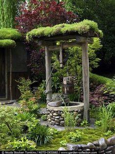 Moss covered wishing well. Would love one in my garden Garden Yard Ideas, Garden Art, Deco Disney, Water Well, My Secret Garden, Wishing Well, Dream Garden, Backyard Landscaping, Garden Inspiration