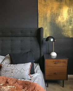 Modernist Wood + Lacquer Nightstand   Anthracite