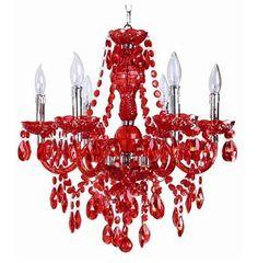 Elegant chandelier - Concerto Red Chandelier from Titus Manufacturing Chandelier Picture, Chandelier Bedroom, White Chandelier, Chandelier Lighting, Bedroom Ceiling, Vintage Chandelier, Bedroom Decor, Chandelier Makeover, Teal Kitchen