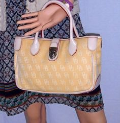 **RARE** Dooney & Bourke Signature Canvas Yellow and Nude Leather Double Handle Tote . Starting at $94