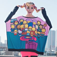 Hello Kitty x The Simpsons: The Couch Party Poncho Sweater