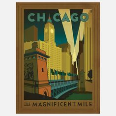 Chicago Mag Mile 18x24 now featured on Fab. 그리운 시카고