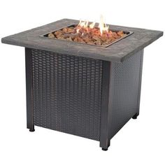Endless Summer 30 in. Steel LP Fire Pit with Faux Slate Mantel-GAD1401M - The Home Depot