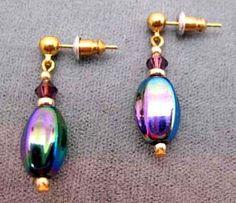 Gorgeous German Art Glass Earrings SCARCE - 1960's Vintage Metallic German Beads