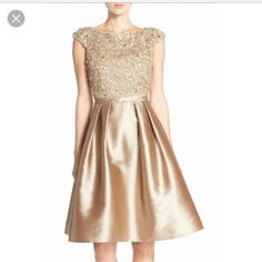 Pamella Roland Embellished Mikado Fit Flare Dress
