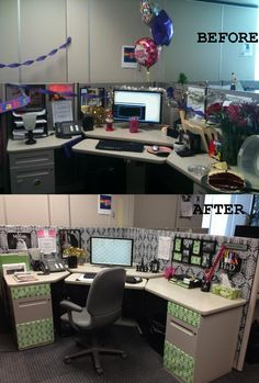 Cubicle before and after redecoration.     First picture taken on birthday Walls are done in wrapping paper from TJ Max. Drawers are also wrapped with paper. Picture frame on wall came from dollar store. Knick knacks on desk were hobby lobby. Lamp is from walmart. File folders from target. Office supply holders found on amazon.com