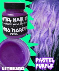 Pastel Purple Hair Dye Vegan Friendly Semi-Permanent 115ml (CHINO MORENO) grunge bleach 90s emo scene kawaii Lithiumm colour color