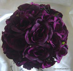 Deep Plum Rose Bouquet and Gold Baby's Breath. Cream Wedding, Purple Wedding, Wedding Colors, Fall Wedding, Wedding Ideas, Diy Wedding, Dark Purple Roses, Purple Flowers, Plum Purple