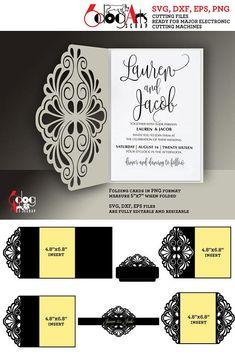 5 Scroll Lace Card / Envelope Templates Digital Cut SVG DXF