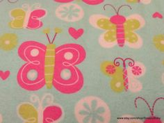 Flannel Fabric  Happy Butterfly  1 yard  100% Cotton by SnappyBaby