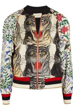 Gucci - Sequin-embellished Printed Silk-twill Bomber Jacket - Red - IT38