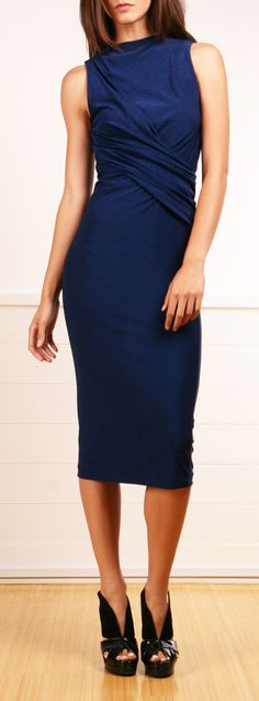 blue draped dress