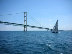 Chicago to Mackinac Race. Close to the finish line at the Mackinac Bridge.