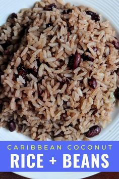 Easy Caribbean beans and rice recipe with coconut milk from southern Costa Rica. #Vegan #vegetarian Jamaican Coconut Rice, Jamaican Rice And Beans, Caribbean Rice And Beans, Coconut Rice And Beans, Rice With Beans, Coconut Milk Rice, Caribbean Chicken, Rice And Beans Recipe, Jamaican Dishes