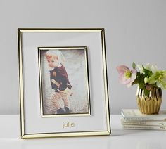 Display a favorite smile, favorite moment or any favorite photo in this Polished Gold Keepsake Frame. This timeless frame can stand alone on a table or be hung on a wall. It can also be personalized for an extra special touch. Personalized Baby Gifts, Pottery Barn Kids, Mom And Baby, A Table, Polish, In This Moment, Display, Antiques, Frame