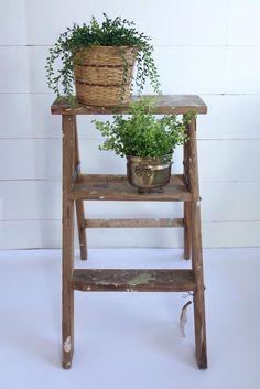 A rustic wooden step ladder with wonderful patina, perfect for the farmhouse look! Use this stool as to display a collection, as an end table, or as a functional step stool. Either way, it will look great. I have several of these in my house and they are perfect and I can always reach in the top cupboards!This is a two step ladder. It has a lovely shabby look. It is in great vintage condition and is very sturdy. Rustic Side Table, Christmas Glasses, Wooden Steps, Shabby Look, Wood Stool, Serving Utensils, Industrial House, Pattern Mixing, Cupboards
