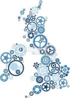 Abstract Vector illustration of all the United Kingdom and Ireland made up from industrial cogs and gears. Hi-res Jpeg, PNG and PDF files included.