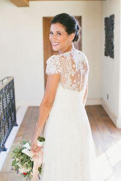 Tendance Robe du mariage 2017/2018  Sheer embroidered short sleeve wedding dress: www.stylemepretty