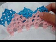 Bico de crochê carreira unica#54                                                                                                                                                                                 Mais Crochet Edging Patterns, Crochet Borders, Crochet Diagram, Crochet Squares, Crochet Designs, Basic Hand Embroidery Stitches, Crochet Stitches, Love Crochet, Crochet Lace