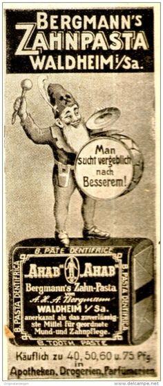 Original-Werbung/ Anzeige 1910 - AHAB / BERGMANN´S ZAHPASTA WALDHEIM - ca. 45 x 100 mm