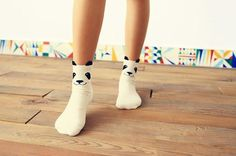 Women's Panda Socks, Available in White and Gray