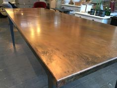 Bespoke copper top dining table - made to order 10 days turnover Copper Top Table, Zinc Table, Metal Dining Table, Dining Table Design, Dining Room Table, Metal Tables, Copper Furniture, Table Furniture, Copper Countertops