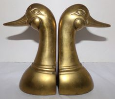 Vintage Brass Duck Head Book Ends Leonard Silver Co Solid Brass #LeonardSilverMfgCo