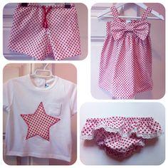 Conjunto vestido + braguita niña 2 años .conjunto camiseta estrella + bañador niño 9/12 meses. Tela start red