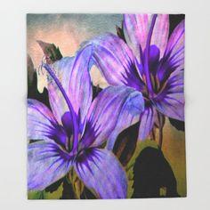 Vintage Painted Lavender Lily Throw Blanket