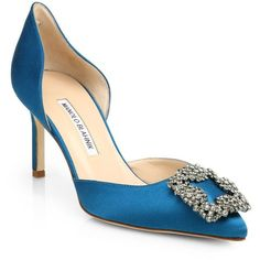 Manolo Blahnik Hangisido Satin D'Orsay Pumps (1,306 CAD) ❤ liked on Polyvore featuring shoes, pumps, apparel & accessories, teal, teal evening shoes, special occasion shoes, d'orsay pumps, teal shoes and teal satin shoes