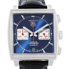e4c1417ee0c 16951 Tag Heuer Monaco Calibre 12 Blue Dial Chronograph Watch CAW2111 Box  Card SwissWatchExpo Tags,