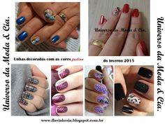 Unhas decoradas com as cores fashion do Inverno 2015. Nails art with fashion colors to inspire.