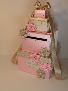 Champagne and Light Pink Wedding Card Box Gift Card Box Money Box Holder--Customize your color on Etsy, $128.00