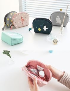 One pouch! Two pouch! Three pouch, four! Give me all these pouches I adore! Travel Size Perfume, Craft Bags, Handmade Polymer Clay, Small Bags, Travel Accessories, School Bags, Leather Clutch, Sewing Tutorials, Diy Fashion
