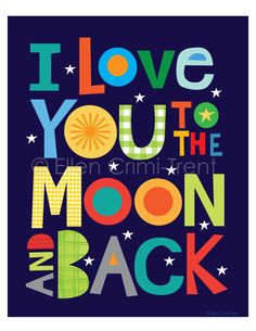Boys Space Wall Art/ I love you too the moon and backboys