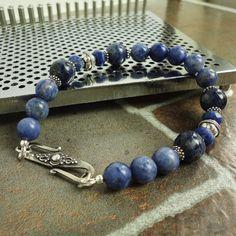 Mens Bracelet Sodalite and Bali Sterling Silver by mamisgemstudio, $59.95