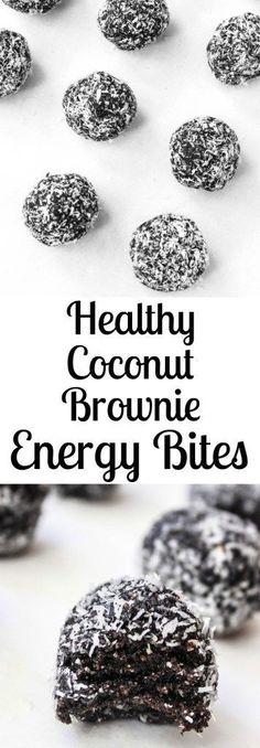 Dark Chocolate Coconut Fudge Brownie Energy Bites- a delicious healthy snack or dessert! | healthy-liv.com