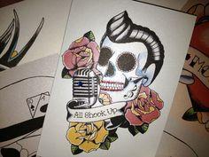 Elvis Day of the Dead sugar skull roackabilly tattoo card
