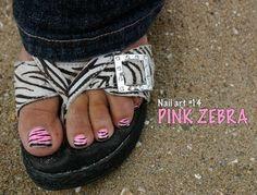 Toe+Nail+Art | 30daysof...blog: Nail Art #14 - Pink Zebra Toes Zebra Pedicure, Pedicure Nail Art, Pink Zebra Nails, Toe Nail Art, Pedicure Designs, Toe Nail Designs, Zebra Shoes, Pretty Pedicures, Fancy Nails